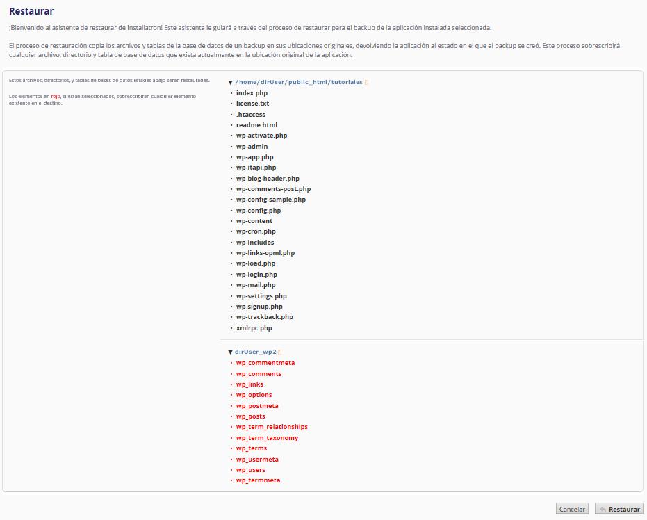 Crear Backup de WordPress